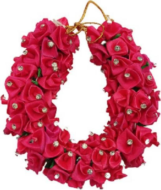 udhayam Bridal Flower Bun Hair Gajra Accessories For South Indian Wedding, Juda Decoration Gajra design no 2 ,Pack Of 1 (dark pink Bun