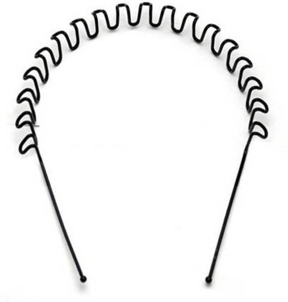 Laddu Gopal Zigzag Wave Black Metal Hairband/Hairbelt For Girls/Boys/Mens/Womens set of 2 Hair Band (Black) Head Band