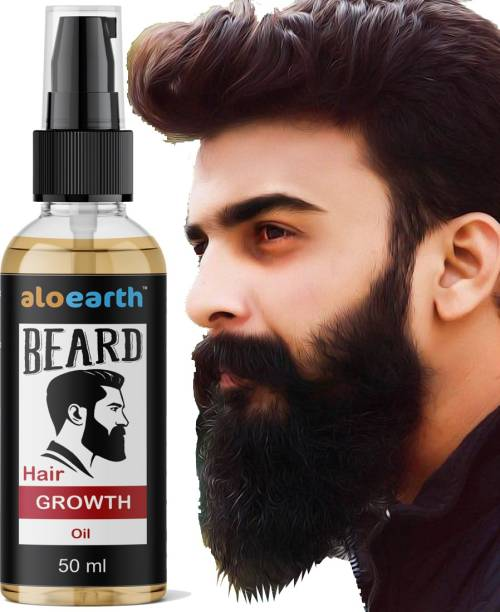 Aloearth 100% Natural Beard Growth Oil- For Stimulating fast Beard Growth  Hair Oil