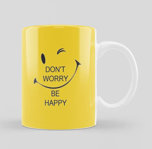 iMPACTGift Don't Worry Be Happy Positive Motivate Msg Printed Cup Ceramic Coffee Mug