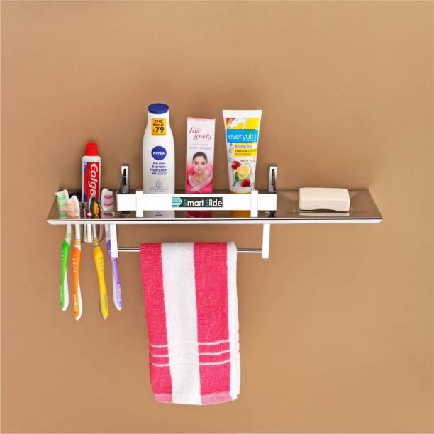 SMART SLIDE Stainless Steel 4 in 1 Multipurpose Bathroom Shelf – Bathroom Rack - Soap Dish – Tumbler Holder – Toothbrush Holder – Towel Hanger – Bathroom Accessories (18 x 5 inches) Stainless Steel Wall Shelf