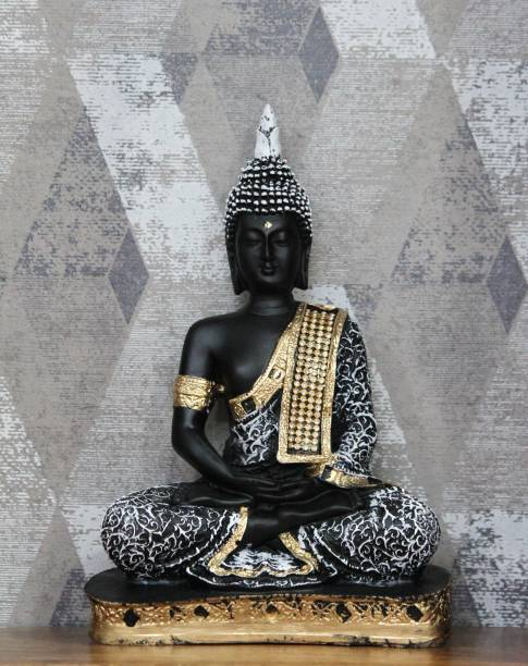 Craft Junction Beautiful Antique Finish Meditating Lord Buddha Decorative Showpiece  -  25 cm