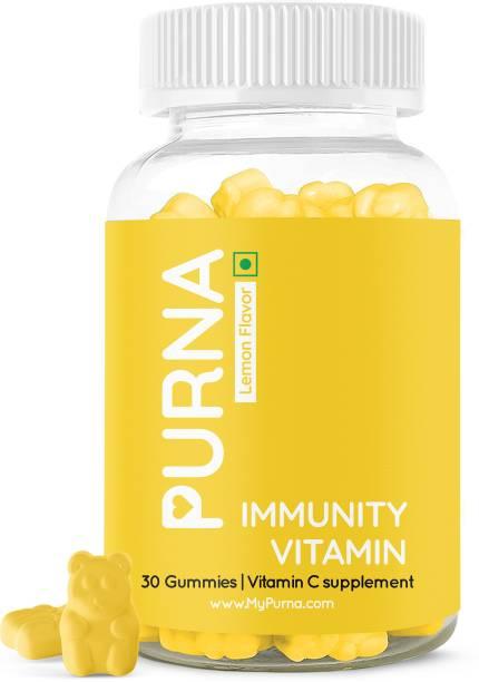 Purna Gummies Vitamin C Lemon & Zinc for Adults & Kids, Immunity Boost, Skincare, 30 Veg Gummy