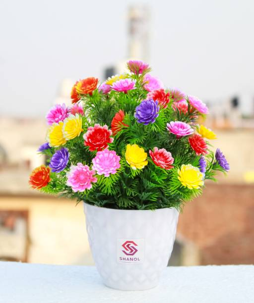 shanol Shanol Prajastore Presents Artificial multicolor flowers with pot, green grass, multicolor sunflower plant, wild plant, bonsai tree for home decoration office table decoration (length 18 cm, colour multicolour ) pack of 1 Multicolor Wild Flower Artificial Flower  with Pot