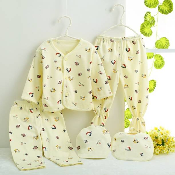 PIKIPOO Presents Premium Quality New Born Baby Summer Wear Baby Clothes 5Pcs Sets 100% Cotton Baby Boys Girls Unisex Baby Cotton/Summer Suit Infant Clothes First Gift For New Born.(Yellow, 0-6 Months)