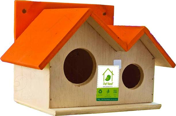 PetNest Wood Bird House Nest Box for Sparrow and Garden Birds, Outdoor Decor for Attracting Birds - DECO10 Bird House