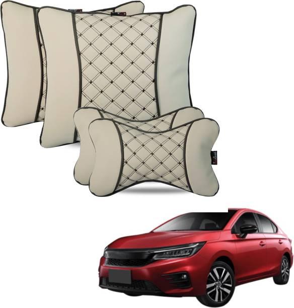 AutoFurnish Beige Leatherite Car Pillow Cushion for Honda
