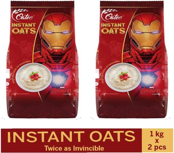 Oateo Instant Oats 2 Kg (1 kg Pack x 2) Whole Grain, High in Fibre Breakfast