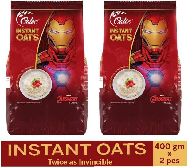 Oateo Instant Oats 800 Grams (400 Grams x 2) Whole Grain, High in Fibre Breakfast