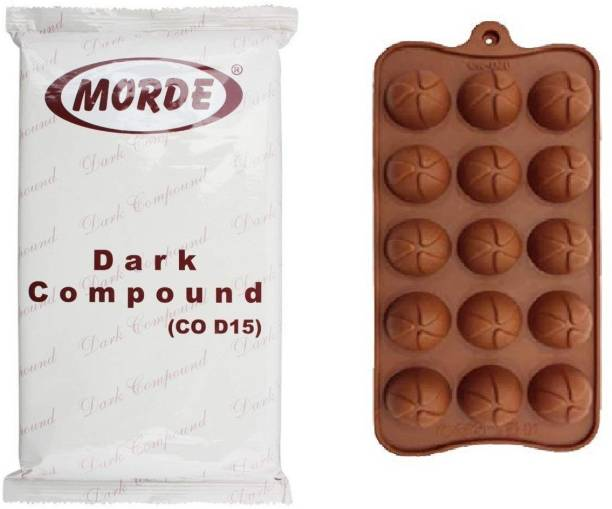 Morde Dark Compound Slab- 400 and Silicone Ball/Dome Shape Chocolate Making Mould, 15 Slots, Food Grade, Brown Bars