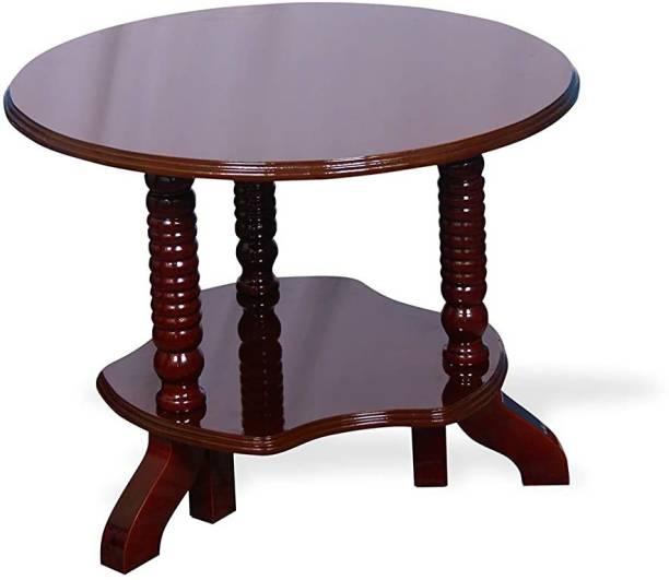 MONO FURN Wooden Round Coffee table - Tea poy - Polished Finish Engineered Wood Coffee Table