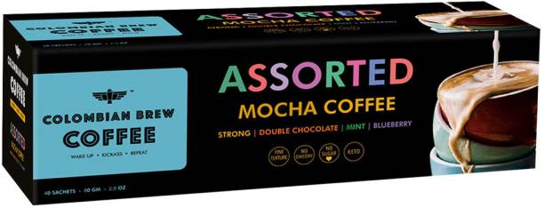 Colombian Brew Mocha Instant Coffee Box (Strong,Double Chocolate,Mint,Blueberry) 80gm Instant Coffee