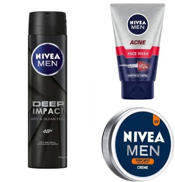 NIVEA Men Deep Impact Deo 150ML , Acne Face Wash 100 Ml , Dark Spot Reduction Creme 75 ML #293