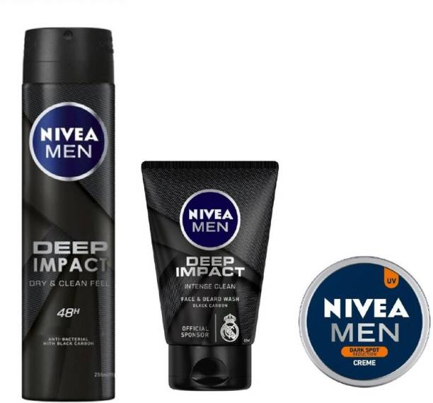 NIVEA Men Deep Impact Deo 150ML , Deep Impact Face Wash 100 Ml , Dark Spot Reduction Creme 30 ML #300