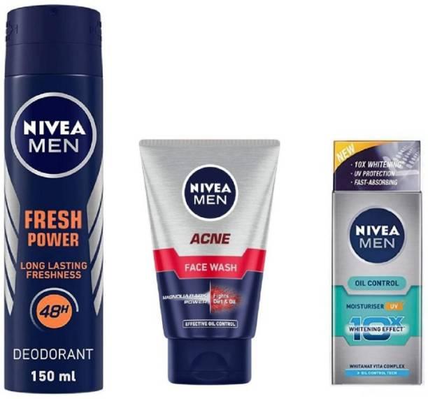 NIVEA Men Fresh Power Deo 150ML , Acne Face Wash 100 Ml ,Oil Control Moisturiser 50 ML #225