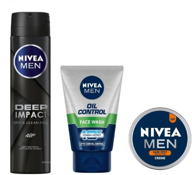 NIVEA Men Deep Impact Deo 150ML ,Oil Control Face Wash 100 Ml , Dark Spot Reduction Creme 30 ML #276