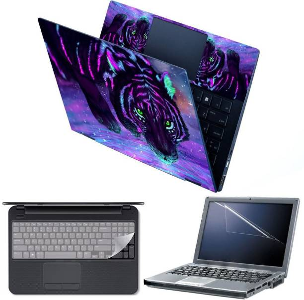 Anweshas 4 in 1 Combo Pack with Laptop Skin Sticker Decal, Palmrest Skin, Screen Protector, Key Guard for 15.6 Inch Laptop - Tiger Fantasy Digital Art Combo Set