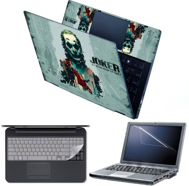 Anweshas 4 in 1 Combo Pack with Laptop Skin Sticker Decal, Palmrest Skin, Screen Protector, Key Guard for 15.6 Inch Laptop - Joker Crazier Combo Set