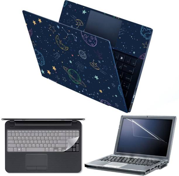 Anweshas 4 in 1 Combo Pack with Laptop Skin Sticker Decal, Palmrest Skin, Screen Protector, Key Guard for 15.6 Inch Laptop - Space Pattern Combo Set