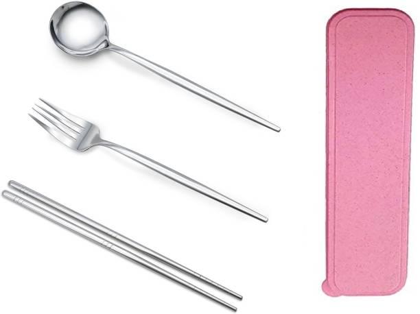 Iktu 304 Stainless Steel Fork Spoon Chopstick Set Flatware Dinnerware Cutlery Tableware Set (Silver) Steel Cutlery Set