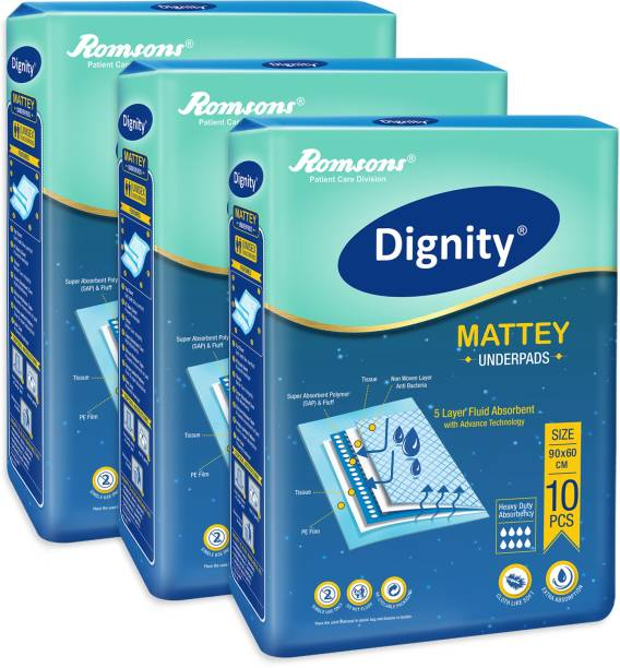 DIGNITY Mattey Disposable Underpads, 60x90 cm, Pack of 3, 30 Pieces Adult Diapers - L