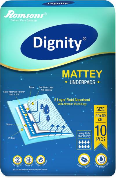 DIGNITY Disposable Underpads, 60x90 cm, 10 Pcs/Pack (Pack of 1) Adult Diapers - L