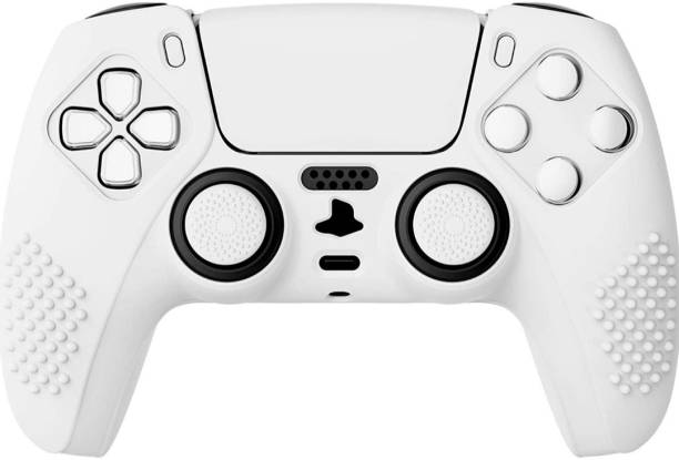 FURGERIN Japan White 3D Studded Edition Anti-Slip Silicone Cover Skin for Playstation 5 Controller, Soft Rubber Case Protector for Play 5 console Wireless Controller  Gaming Accessory Kit