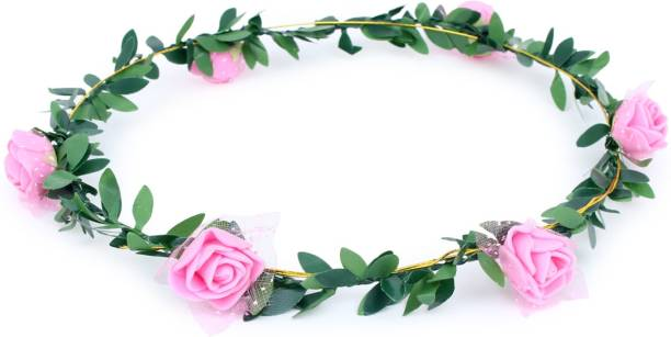 PARTY MIDLINKERZ Pink Flower Gracious Tiara/Crown Head Wrap for Wedding Party Beach for Women Girls Hair Band