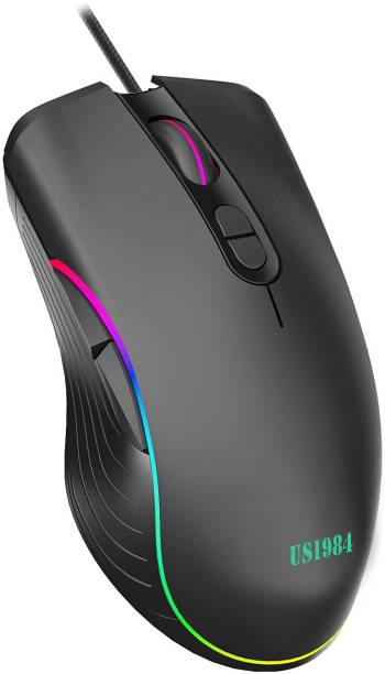 US1984 Wired USB Gaming Mouse, 6400 DPI Optical Sensor, Ergonomic USB Mice, RGB Lighting, 7 Buttons, Lightweight Mouse for Laptop PC Gamer Computer Desktop Wired Optical  Gaming Mouse