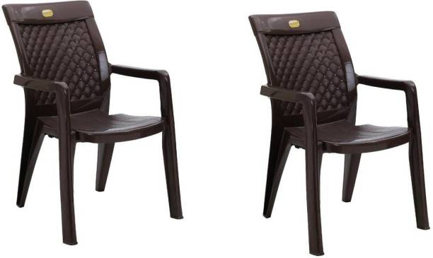 Anmol Moulded Furniture Texas 2180 High back chair (brown) weight Bearing Capacity 150kg (Pack of 2 ) Plastic Outdoor Chair