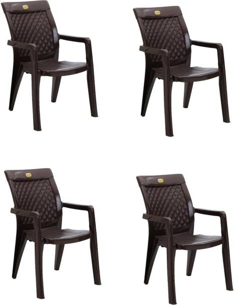 Anmol Moulded Furniture Texas 2180 High back chair (brown) weight Bearing Capacity 150kg (Pack of 4 ) Plastic Outdoor Chair