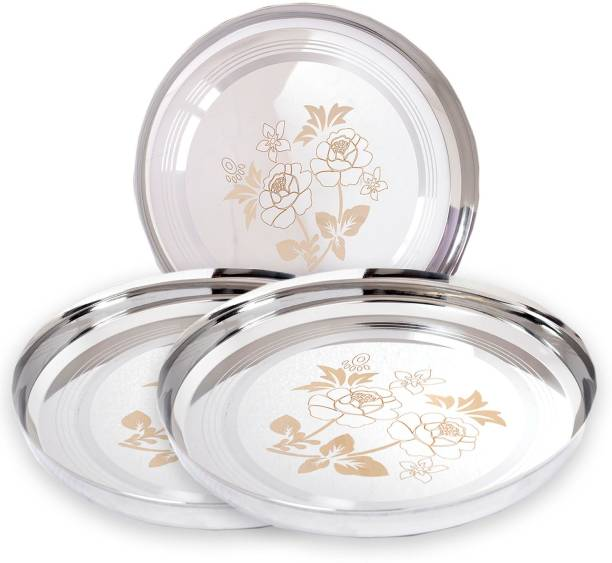 "Yana Mirror Finish Stainless Steel 22 Gauge Rose flower Lazer Design bhojan thali 27cm Dia (10.5"" Diameter + 2"" Side corner) P3 Dinner Plate"