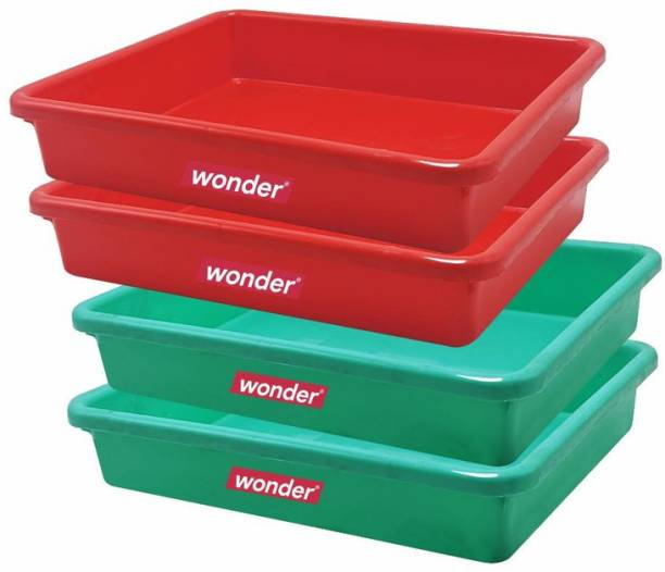 Wonder Plastic Prime Plastic Exel Small Ractangular Multipurpose Organising & Storage Tray Set, 4 pc Set, Red Green Color, Made In India, KBS01828 Tray