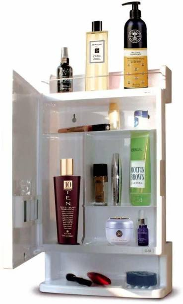 urban desires Bathroom Cabinet with Mirror Plastic Strong and Heavy Rich Look 6 Shelves Storage Organiser and Shelf, 21 x 12 inches, White Plastic Wall Shelf
