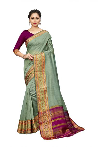 Sanku Fashion Woven Kanjivaram Cotton Silk, Silk Blend Saree