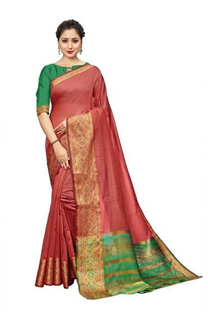 Sanku Fashion Woven Kanjivaram Cotton Silk, Art Silk Saree