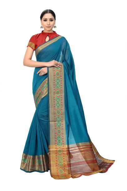 Sanku Fashion Woven, Solid Kanjivaram Cotton Silk, Silk Blend Saree