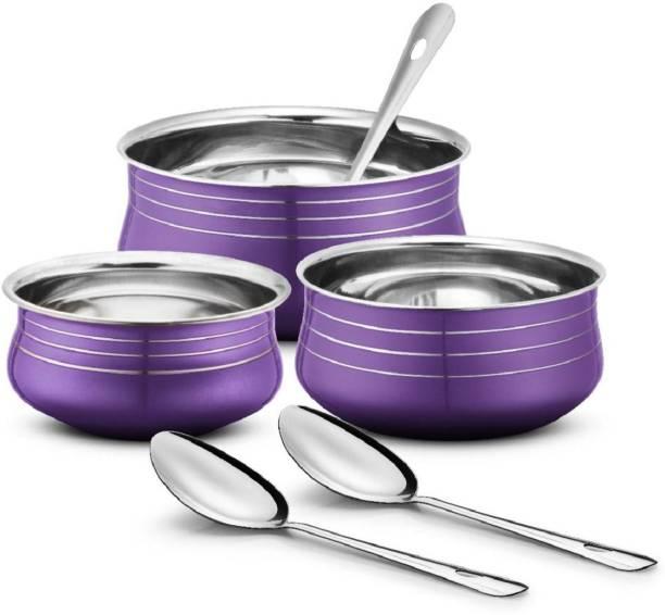 Urban Chef Stainless Steel 3 Pcs Handi Set with 3 Pcs Service Spoon- 3+3= 6 Pcs Set Bowl, Spoon Serving Set