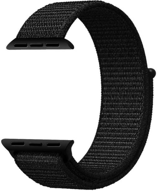 MIFKRT Nylon Sport Loop Replacment Band Strap for Apple Watch 42mm/44mm Series 5/4 (Jet Black) Smart Watch Strap
