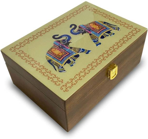 Octavius Assortment Of Fine Black & Green Teas in Tranditional Elephant Pattern Wooden Gift Box   Combo