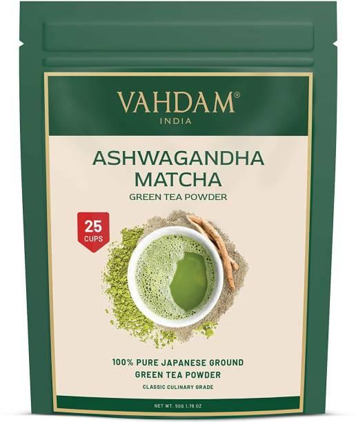 Vahdam Pure Japanese Ashwagandha Matcha, Low Calorie, Keto Friendly, Vegan, Boosts Energy & Relieves Stress Matcha Tea Pouch