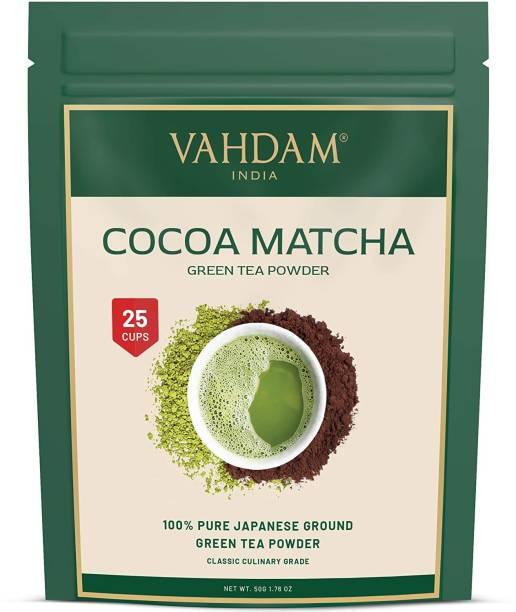 Vahdam Pure Japanese Cocoa Matcha, Keto Friendly, Vegan, Improves Focus & Relieves Stress Matcha Tea Pouch