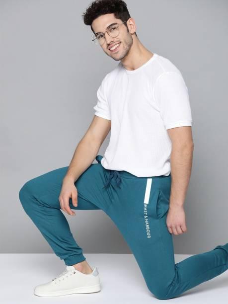 MAST & HARBOUR Solid Men Dark Blue Track Pants