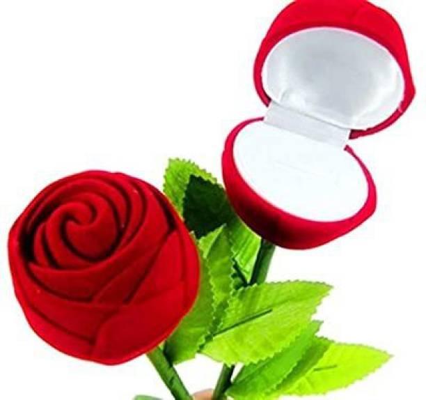 BRAND BASKET Red Velvet Rose Box For Jewellery Ring, Rose Ring Box For Women, Girls & Loved Ones Gift, Valentine, Wedding, Engagement Gift , Single Box Without Ring Velvet Coated Rose, Keep Your Jewelry Ring Safe Vanity Box