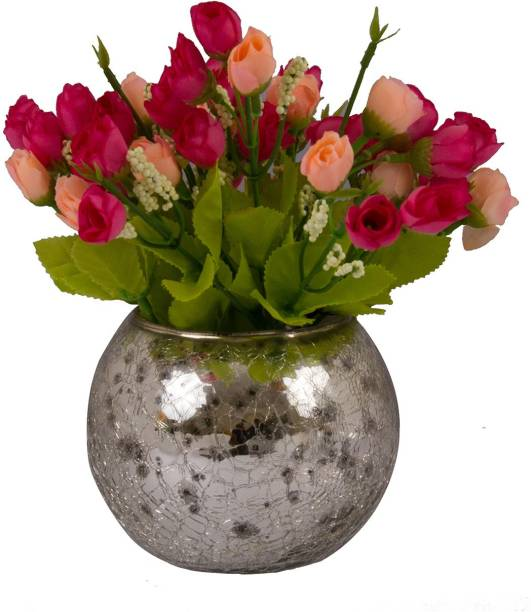 TIED RIBBONS Multicolor Tulips Artificial Flower  with Pot