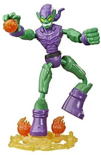 Spiderman Marvel Bend and Flex Goblin Action Figure Toy, 6-Inch Flexible Figure, Includes Blast Accessories, for Kids Ages 4 and U