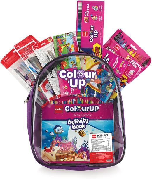 cello ColourUp Hobby Bag of Assorted Stationery|Crayons, Sketch Pens, Oil Pastel, Gel pens, Mechanical Pencils, Clay with Kids Activity Book inside