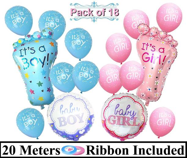 DECOR MY PARTY Printed It's a Girl & Boy Printed Baby Feet Round Foil Balloons Combo Kit For Baby Shower Decoration / Welcome Baby Party Decorations / Baby Shower Decoration Balloon / Maternity shoot Props Balloon