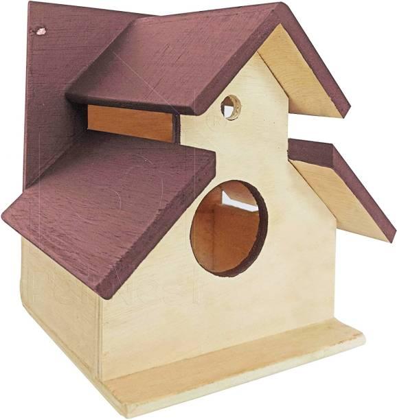 PetNest sheddy Bird House Nest Box for Sparrow and Garden Birds Wood Bird Nest Garden Outdoor Decor for Attracting Birds Brown - DECO7 Bird House