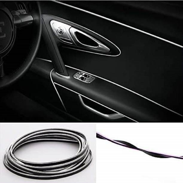 Lakshmina Enterprises Beading Roll Interior Silver Car Chrome, Flexible Styling PVC Moulding Trim Strip (5 Meters) Car Beading Roll For Grill and Garnish Cover, Window, Door